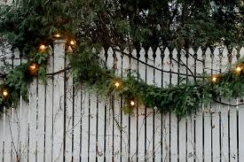 Garland With Lights And White Fence And Garland With Lights Gorgeous