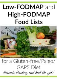 low fodmap and high fodmap food lists for a gluten free paleo