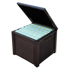 Suncast 97 Gal Resin Outdoor Keter 55 Gal Resin Rattan Storage Cube Deck Box 228979 The Home