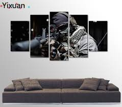 army home decor 5 panels high quality frame canvas painting decor army soldier