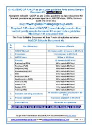hacccp document manual procedure