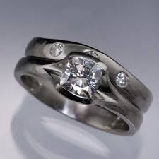 palladium engagement rings fitted contoured wedding ring moissanite shadow band