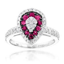 ruby engagement rings gold unique pear shape diamond and ruby womens ring drop design 1tcw