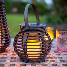 Round Solar Lights by Round Solar Rattan Lantern Light By Lights4fun
