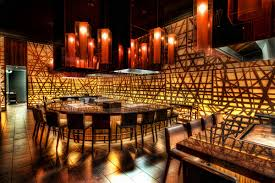 restaurant attractive lighting design with stunning wall decor