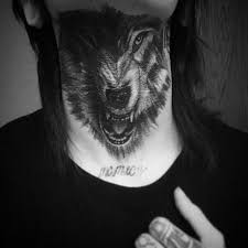 37 lovely wolf neck tattoos