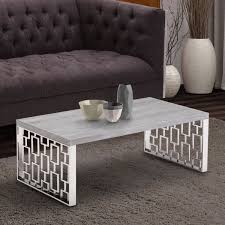 livingroom table ls armen living skyline gray wash coffee table in brushed steel finish