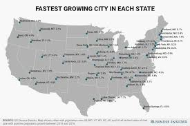 United States Map By Population by Fastest Growing City In Each State Map Business Insider