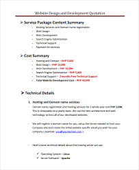 free web designer sle web design quote template 6 free documents in pdf