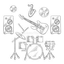 musical band instruments sketches set stock vector image 66003282