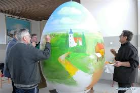 large easter eggs fairy tales on eggs croatian painters draw easter eggs global times