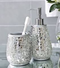 Glass Bathroom Accessories by Silver Sparkle Mirror Glass Crackle Bathroom Dispenser U0026 Tumbler