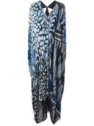 roberto cavalli draped mixed print kaftan dress in blue lyst