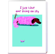 dachshund boa birthday greeting card by gravelly card gnome