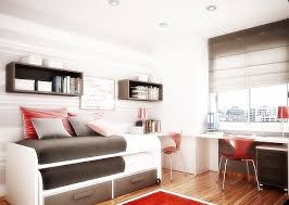 bedroom space saving bed with modern and wraiting desk also wall