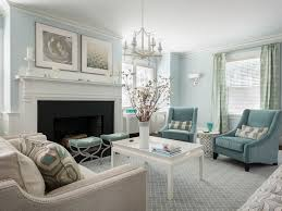 Light Blue Armchair White Molding Wainscoting Tray Table Coffee Blue Stool Patterned