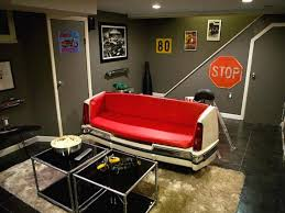 interior dazzling basement man cave decorations grey painted