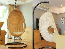 Swing Chairs For Rooms Swing Rattan Chair In India Living Room Before U0026 After Chuzai