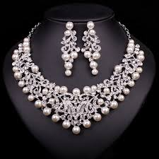 bridal necklace earrings images Fashion pearl statement necklace earrings bridal jewelry sets jpg