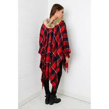 Tartan Print Cape With Fur In Red
