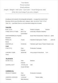 Resume Acting Template by Actor Resume Singer In Acting Template Word Doc