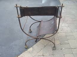 Folding Directors Chair Wrought Iron U0026 Leather Folding Directors Chair Collectors Weekly
