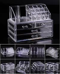 cosmetic organizer makeup drawers display box acrylic clear