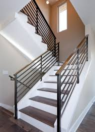 metal landing banister and railing modern handrail designs that make the staircase stand out wooden