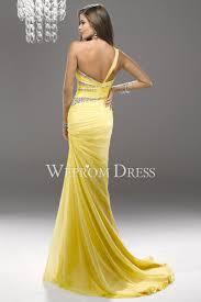 one shoulder yellow color crystal stylish evening dress uk