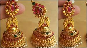temple design gold earrings designer gold jhumkas designs 2017 traditional gold