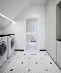 laundry tiling ideas laundry room scandinavian with penny tile