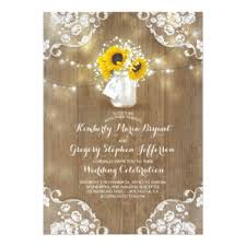 Sunflower Wedding Invitations Babys Breath Rustic Wedding Invitations U0026 Announcements Zazzle