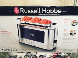 Toaster Box 2 Slice Stainless Steel Long Toaster Black Glass Russell Hobbs