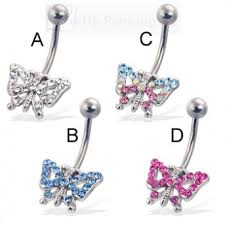 navel piercing belly button ring with jeweled butterfly
