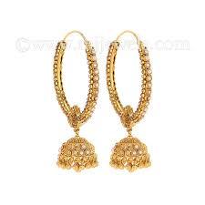 gold jhumka hoop earrings 22k gold pearl polki jhumka hoops raj jewels