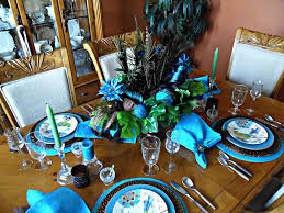 peacock table decorations decorate the table