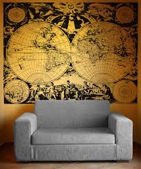 World Map Wall Decal Vinyl Wall Decal Sticker Ancient Nautical World Map Os Aa322