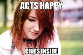 Happy Crying Meme - acts happy cries inside sad smile sadie quickmeme