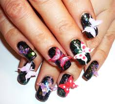 midnight 3d butterflies nail collab with toxicomana81