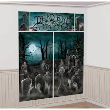 halloween background for poster for physician with green cemetery scene setters halloween wall decorating kit amazon com