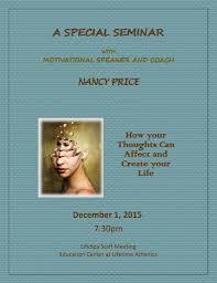 Nancy Price by Past Events Nancy Price Life Coach