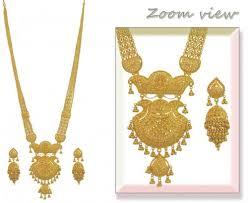 gold long necklace images 22k indian bridal long set ajns53732 22k gold long necklace jpg