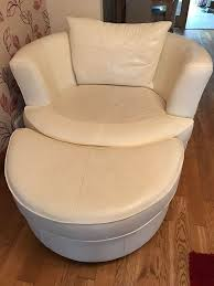 Swivel Cuddle Chair Dfs Otis Large Cuddle Swivel Chair In Cream Leather With Half Moon