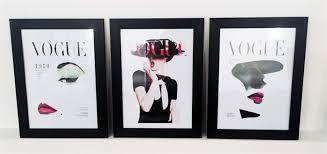 Vogue Home Decor 3 X Vogue Covers Vintage Framed Replica Poster Prints Home Decor