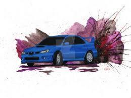 blue subaru blue subaru wrx drift painting by becauseraceart on deviantart