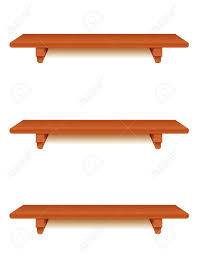 cherry wood wall shelves with brackets isolated on white royalty