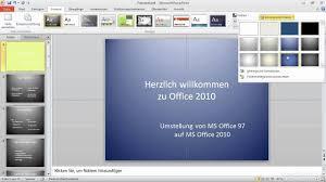 powerpoint design zuweisen designs und hintergründe ihr einstieg in powerpoint 2010 youtube