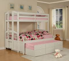 bathroom kids room white bunk bed with three level for extra