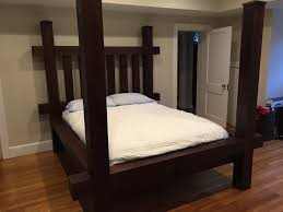 Timber Frame Bed Made Four Post Greens Mountain Timber Frame Bed By Puddle