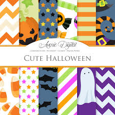Cute Halloween Digital Paper Scrapbook Backgrounds Green